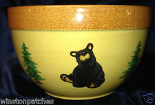 BIG SKY CARVERS JEFF FLEMING BEARFOOTS LARGE ROUND SERVING BOWL 10 1/2""