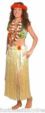 "Hawaiian Natural Effect Grass Hula Skirt With Flowers Fancy Dress 32"" Long"