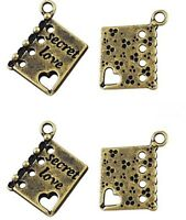 10 x Antiique Bronze Book Charms LF NF - Valentines Love Heart Diary Charms