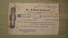 New listing Old Bank Promissory Note Revenue Receipt, Penang Malaysia, Dharmaraj