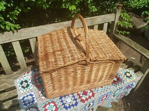 Vintage  1950s large  domed hand woven wicker picnic Basket And Wine Basket
