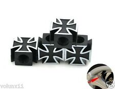 Black Cross Car Wheel Air Tyre Valve Dust Caps Covers  Wheel Rim Set of 4