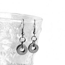 Silver Circle Earrings Brushed Steel Finish French Hook Drops Girlfriend Gift