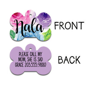 Floral Dog Tag | Personalized Pet ID Tag | Double Sided Dog Tag |Girl Dog Tag
