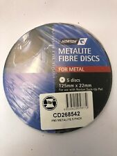 NORTON METALITE FIBRE DISCS FOR METAL P80  (PACKS OF 5) 125 MM X 22 MM