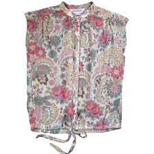 New listing Vintage 70s M Elles Belles Floral Print Sleeveless Blouse Tie Waist Button Up