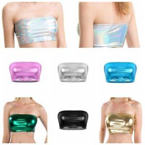 Womens Metallic Tube Strapless Bandeau Stretch Vest Bra Crop Top Dance Clubwear