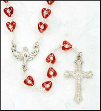 "Girls Confirmation Gift 6MM Red Heart Bead Holy Dove Center 19"" Rosary Necklace"