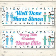 2 PERSONALISED NURSE BANNERS - ANY NAME-ANY AGE-ANY MESSAGE