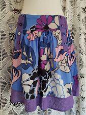 Siguiente Talla 10 Púrpura Azul Falda Con Bolsillos