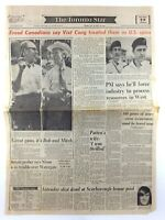 Vintage July 16 1973 Toronto Star Front Page Newspaper Freed Canadian Spies K629