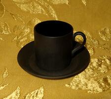 WEDGWOOD *BASALT BLACK* DEMITASSE / ESPRESSO CUP & SAUCER MADE IN ENGLAND
