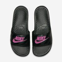 Nike Women's Benassi JDI Slides Sandals Black Pink 343881-061 NEW