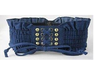 Women Ladies Denim Rivet Tassels Waistband Elastic Stretch Corset Waist Belt