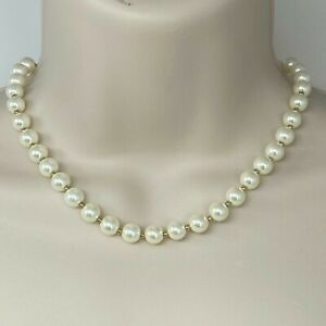 """Anne Klein Blanc Ivory Round Glass Pearl Collar Necklace Gold Tone 16"""" Plus 3"""""""