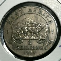 1937 EAST AFRICA LION SILVER ONE SHILLING HIGH GRADE COIN