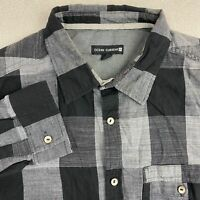 Ocean Current Button Up Shirt Mens L Black Gray Long Sleeve Plaid Chest Pocket