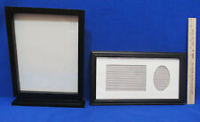 Black Photo Frame Picture Self Standing & Rectangle w/ Cream Mat Lot of 2