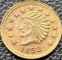 USA 1852 1/2 California Gold Fantasy Token Brass Indianer Indian Head