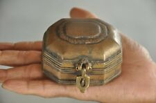 Old Brass Handcrafted Small Octagonal Shape Jewellery Box , Rich Patina