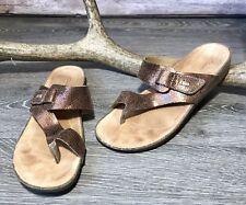 17503b8080b3f CLARKS Artisan Perri Coast Bronze Metallic Nubuk Thong Sandals Women s 11M