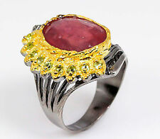 Ruby 14ct  fine art top red 925 Sterling Silver Ring Size 8.5