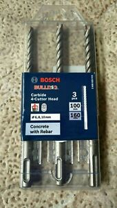 BOSCH 6-10MM 4-CUT SDS-PLUS TCT HAMMER DRILL BIT SET - BULLDOG - 3 PIECE