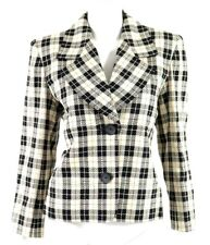 YVES SAINT LAURENT Vintage White, Black & Brown Wool Check Jacket 40