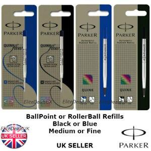 Genuine Parker BALL POINT / ROLLERBALL Refill Medium Fine BLACK /BLUE QUINK FLOW