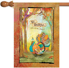 NEW Toland - Be Thankful - Grateful Thanksgiving Colorful Funny House Flag