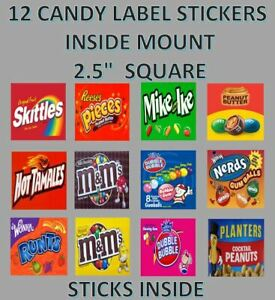 12 INSIDE MOUNT 2.5 x 2.5 Candy Machine Bulk Vending Labels