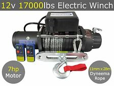 12v 17000lbs Electric Winch 11mm X 28m Dyneema Synthetic Rope 4WD Truck 17000lb