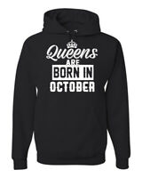Queens are Born in October Humor Unisex Graphic Hoodie Sweatshirt