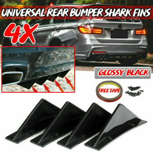 4X Curved Car Rear Body Bumper Diffuser Shark Fin Kit Universal Spoiler Black
