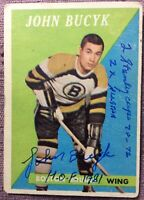 *SIGNED* 1958-59 Topps #40 JOHN BUCYK w/ *3 INSCRIPTIONS* ~ *NO CREASES*