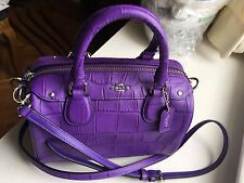 Authentic Coach purple BABY BENNETT SATCHEL IN CROC EMBOSSED LEATHER  55455  NWT