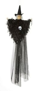 """21"""" Hanging Black Witch Doll Feather Streaming Retro Classic Halloween Decor"""