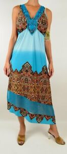 One World Maxi Dress Blue Aqua Fusion Paisley Dream, Lace Crochet, NWT, L, Large