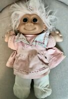 "Russ Berrie Vintage 12"" Soft Troll Kidz Doll Pink Hair Sailor Dress Blue Eyes"