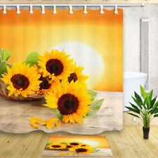 Yellow sunflower 70*70 Inch Waterproof Fabric Shower Curtain Bathroom Mat Hooks