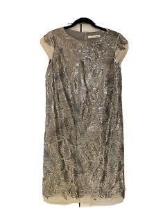 Oui, Sequin Dress, Feather Pattern, In Silver, Size UK 10/ EU 36