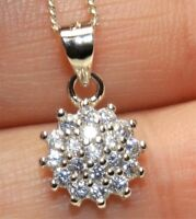 """SIMULATED DIAMOND CLUSTER PENDANT 925 STERLING SILVER  & 18"""" Chain Necklace"""