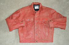 Moschino Jeans Red Leather LOVE Compass Button Biker Jacket Coat Mens Large L 46
