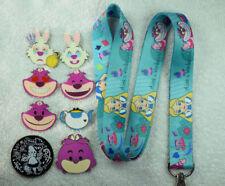 Blue Alice in Wonderland Cheshire Cat lanyard plus 8 Disney trading pin lot NEW