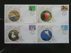 NEVIS 2010 BIRDS STAMPS 4v ON 4 x BENHAM SILK FIRST DAY COVERS SHS VGC