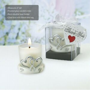 60 Interlocking Silver Heart Design Candle Wedding Bridal Shower Party Favors