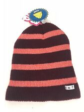 6886c95447c NWT Women s Neff Daily Sparkle Stripe Beanie Hat Maroon Coral Pink NEW!