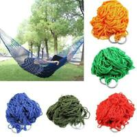 Portable Garden Hammock Mesh Net Rope Travel Camping Outdoor Swing Bed Red