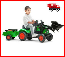 Kids Ride On Farm Tractor Toy Digger Front Loader Trailer Peddle Powered Outdoor
