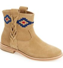 SOLUDOS Boots Embroidered Geometric Braided Southwest Suede Ankle Booties Tan 10